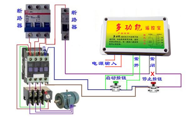 配电箱遥控器接线特别简单,两根蓝色引出线接多功能遥控宝的电源部分,两根绿绿色的引出线是遥控宝的常开端,接配电箱绿色启动按钮的两端。两根红色线是遥控宝的常闭端,直接串接在配电箱红色停止按钮的一端【把红色停止按钮的一端的线从中间断开,把配电箱遥控器的两根红色的常闭线串在里面】。